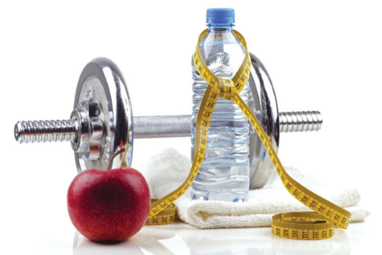 water, weights, apple